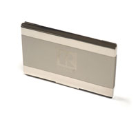 Two-Tone Engraved Silver Business Card Holder