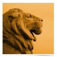 Profile of a lion statue