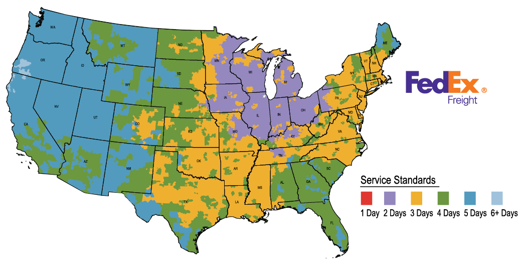 Estimated Ground Delivery Times in the continental U.S. via Fedex